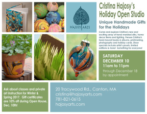 Hajosy Arts' Holiday Open Studio – Saturday, December 10