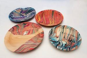 Marbleized Shallow Wood Bowl – Collaborative Workshop – Eliot School, JP – Sept 30, Oct 14